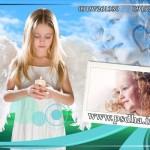 فون کودک با بک گراند آسمان و طبیعت