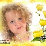 فون کودک با لاله های زرد