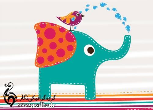 دانلود وکتور فیل و پرنده کارتونی