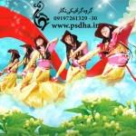 طرح لایه باز رقص دختران در آسمان
