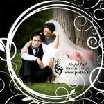 فون عروس و داماد حرفه ای با فریم گلدار دایره 931
