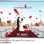 فون عروس و داماد با گل های رز