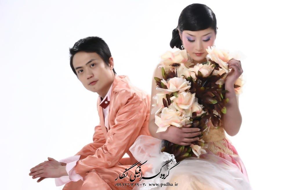 مدل ژست عکس عروس و داماد ایرانی و کره ای