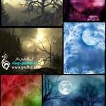 بک گراند رویایی ماه و ابر