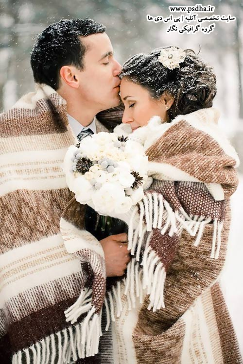 مدلهای ژست عاشقانه عروس و داماد در برف