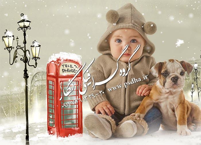 دانلود رایگان بک گراند زمستانی عکس کودک psd