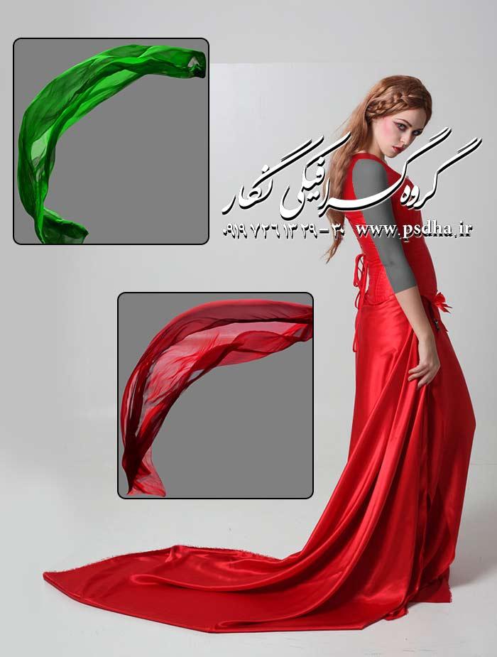 دنباله تور و لباس عروس برای طراحی عکس عروس در رنگ های مختلف