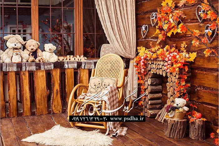 بک گراند دکور آتلیه پاییز برای طراحی