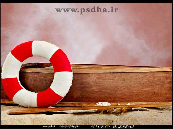 بک گراند قایق و دکور دریا