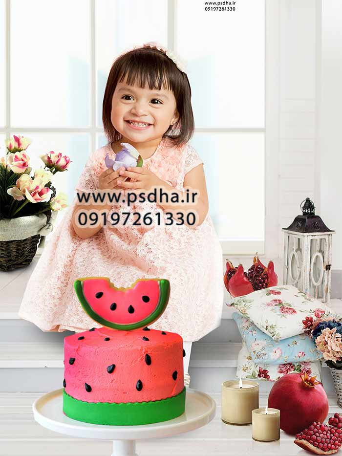 دانلود بک گراند عکس یلدا با کیک هندوانه