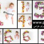 دانلود اعداد ماهگرد برای طراحی عکس نوزاد رایگان