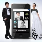 طرح لایه باز عروس و داماد و موبایل