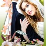 فون عروس و داماد با فریم گل های لیلیوم