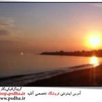 دانلود فوتیج از غروب خورشید بر ساحل دریا و رودخانه