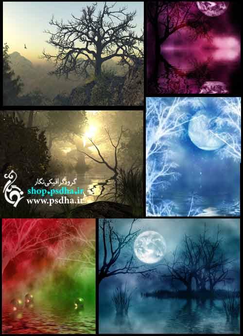 بک گراند رویایی با ماه و ابر