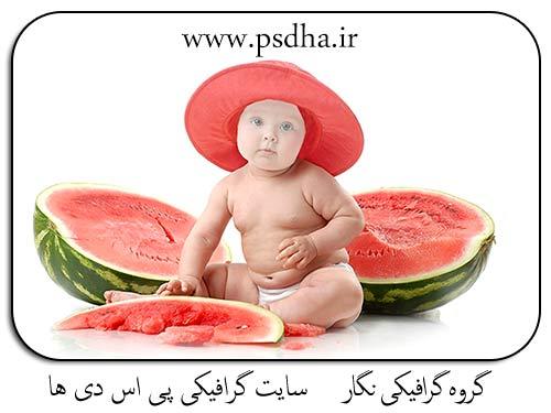 دانلود پی اس دی فون مونتاژ کودک و هندوانه