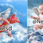 دانلود رایگان فون مونتاژ عکس بال فرشته کودک