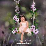 بک گراند آتلیه کودک دکور تاب با کیفیت عالی برای طراحی عکس کودک