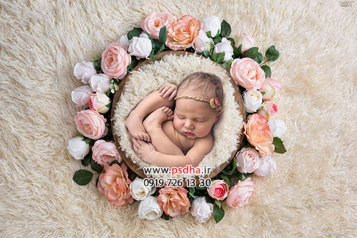 بک دراپ نوزادی تخت و حلقه گل