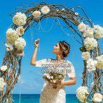 خرید بک گراند عروس و داماد با دکور باغ و طبیعت کد 3993