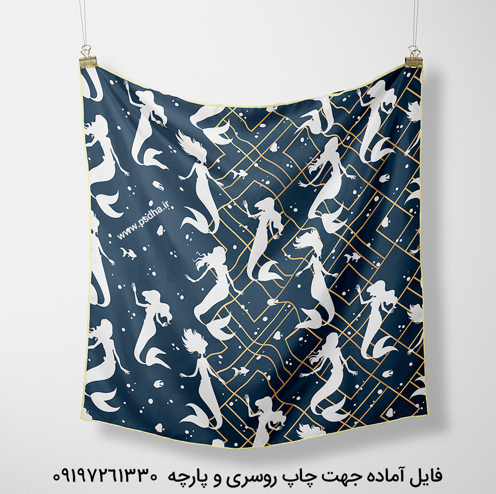 طرح روسری زمینه سورمه ای