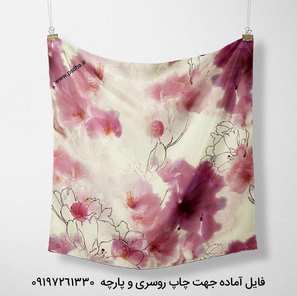 طرح روسری گل درشت