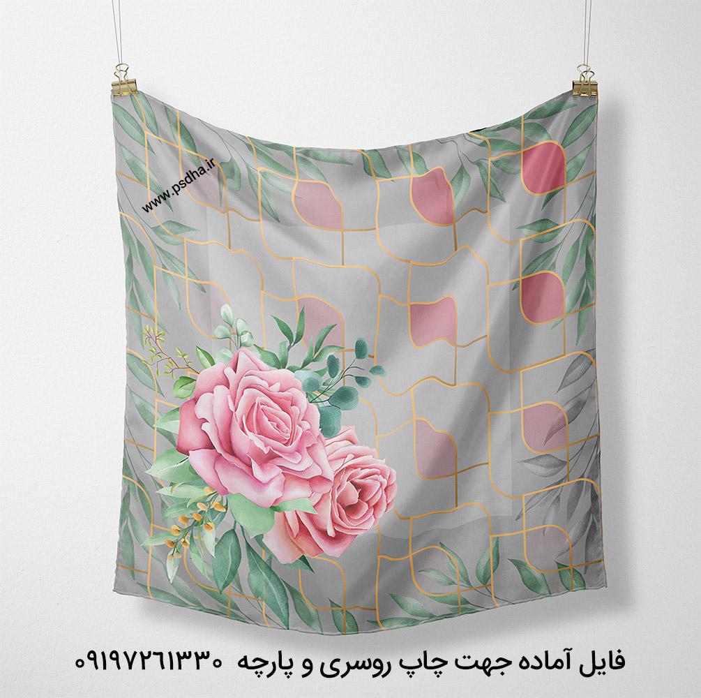 طرح برای چاپ روسری گل دار